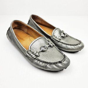 Coach Arlene Metallic Silver Driving Loafer